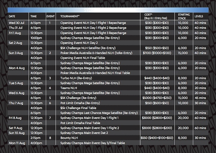star poker schedule