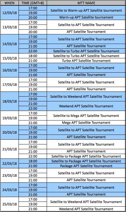 PokerMaster APT satellite schedule March 12 - 25, 2018